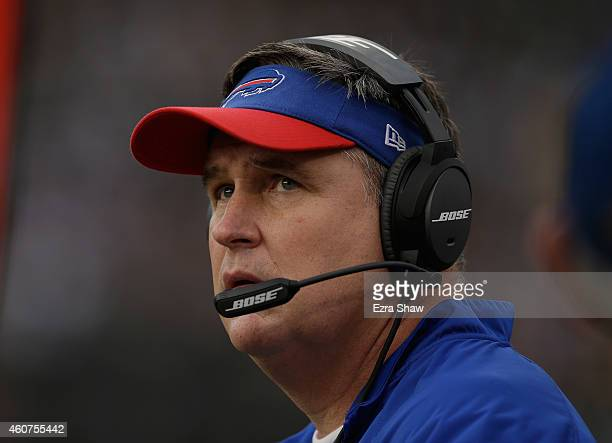 Head coach Doug Marrone of the Buffalo Bills watches his team against the Oakland Raiders at Oco Coliseum on December 21 2014 in Oakland California
