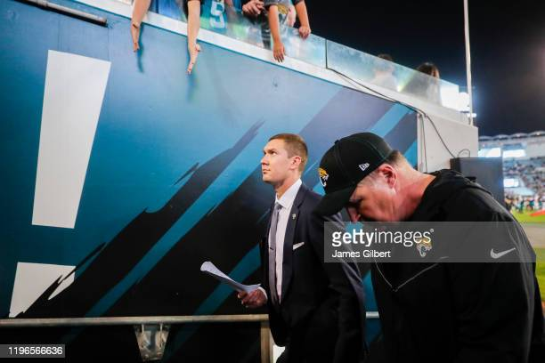 head coach Doug Marrone of the Jacksonville Jaguars exits the field after defeating the Indianapolis Colts in a game at TIAA Bank Field on December...