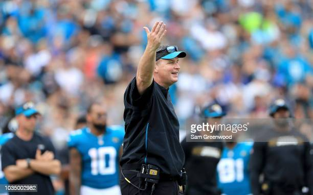 Head coach Doug Marrone of the Jacksonville Jaguars gestures toward the field during the game against the New England Patriots at TIAA Bank Field on...