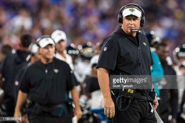 Head coach Doug Marrone of the Jacksonville Jaguars looks on against the Baltimore Ravens during the first half of a preseason game at MT Bank...