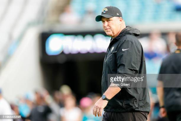 Head coach Doug Marrone of the Jacksonville Jaguars looks on before the start of a game between the Jacksonville Jaguars and Indianapolis Colts at...