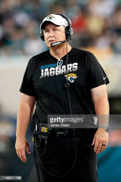 Head coach Doug Marrone of the Jacksonville Jaguars looks on during the second quarter of a preseason game against the Philadelphia Eagles at TIAA...