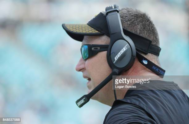 Head coach Doug Marrone of the Jacksonville Jaguars looks to the field during the first half of their game against the Tennessee Titans at EverBank...