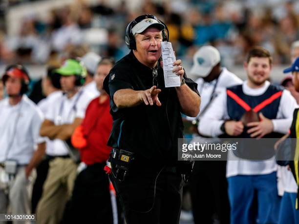 Head Coach Doug Marrone of the Jacksonville Jaguars on the sidelines during a preseason game against the New Orleans Saints at TIAA Bank Field on...