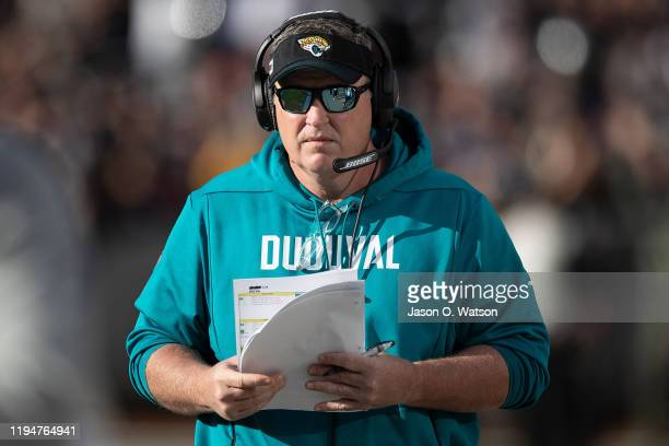 Head coach Doug Marrone of the Jacksonville Jaguars on the sidelines against the Oakland Raiders during the second quarter at RingCentral Coliseum on...