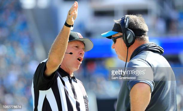 Head coach Doug Marrone of the Jacksonville Jaguars speaks with a referee during the game against the Houston Texans at TIAA Bank Field on October 21...