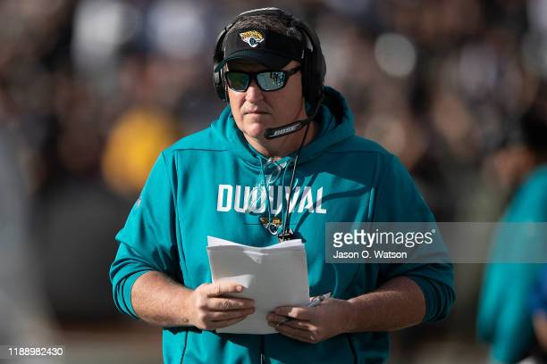 Head coach Doug Marrone of the Jacksonville Jaguars stands on the sidelines during the second quarter against the Oakland Raiders at RingCentral...