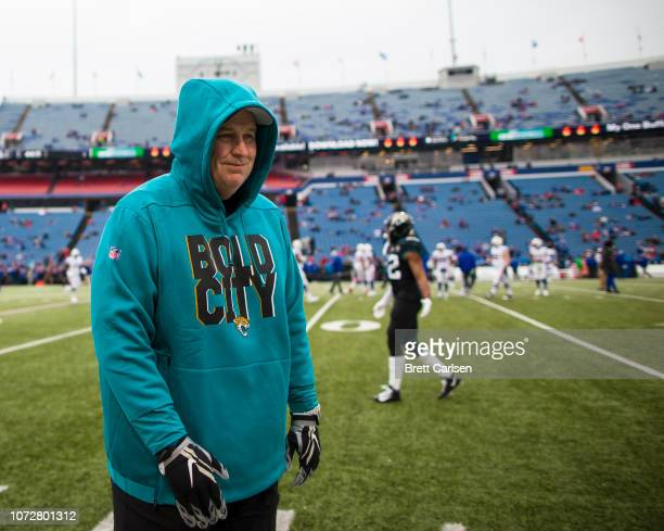 Head coach Doug Marrone of the Jacksonville Jaguars walks on the field before the game against the Buffalo Bills at New Era Field on November 25 2018...