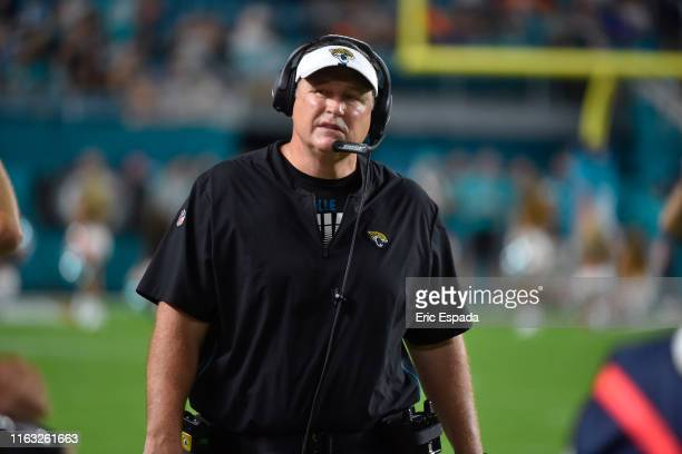 Head coach Doug Marrone of the Jacksonville Jaguars walks on the sideline during the preseason game against the Miami Dolphins at Hard Rock Stadium...
