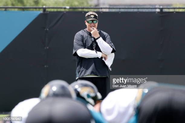 Head Coach Doug Marrone of the Jacksonville Jaguars watches his team during Training Camp at Dream Finders Homes Practice Complex on July 26 2018 in...