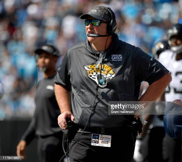 Head coach Doug Marrone of the Jacksonville Jaguars watches his team in action against the Carolina Panthers during the second quarter of their game...