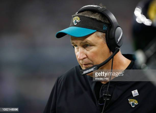 Head coach Doug Marrone of the Jacksonville Jaguars watches the game against the Dallas Cowboys in the third quarter of a game at ATT Stadium on...