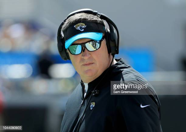 Head coach Doug Marrone of the Jacksonville Jaguars watches the action during the game against the New York Jets on September 30 2018 in Jacksonville...