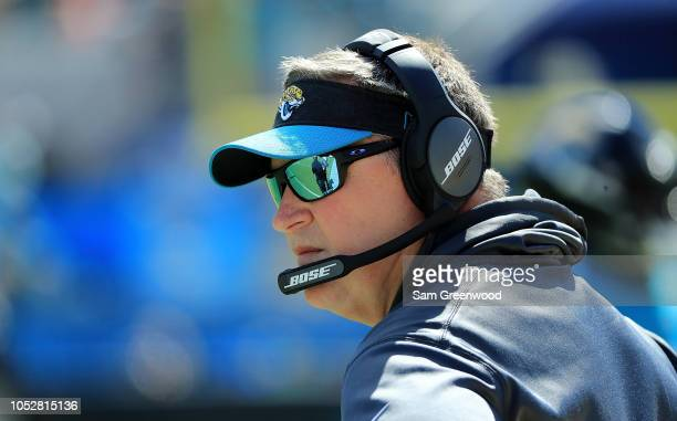 Head coach Doug Marrone of the Jacksonville Jaguars watches the action during the game against the Houston Texans at TIAA Bank Field on October 21...