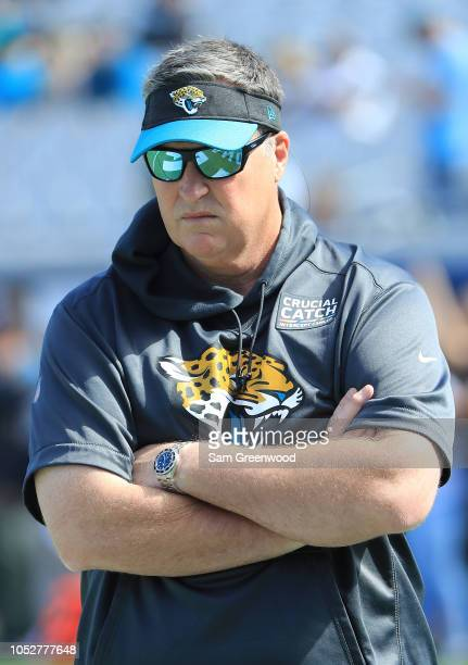 Head coach Doug Marrone of the Jacksonville Jaguars watches warm ups prior to the game against the Houston Texans at TIAA Bank Field on October 21...