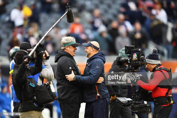 Head coach Doug Pederson of the Philadelphia Eagles and head coach Matt Nagy of the Chicago Bears greet each other prior to the NFC Wild Card Playoff...
