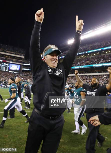 Head Coach Doug Pederson of the Philadelphia Eagles celebrates a 387 win against the Minnesota Vikings after their NFC Championship game at Lincoln...