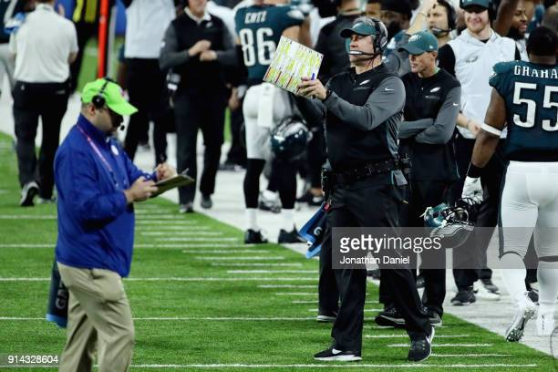 Head coach Doug Pederson of the Philadelphia Eagles celebrates a 22yard touchdown reception by Corey Clement against the New England Patriots in the...