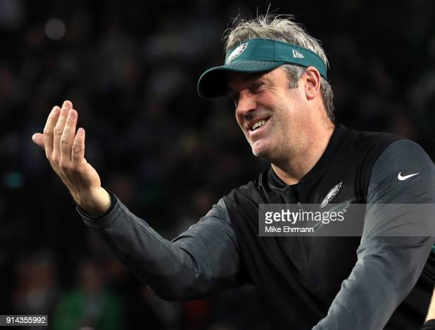 Head coach Doug Pederson of the Philadelphia Eagles celebrates after defeating the New England Patriots 4133 in Super Bowl LII at US Bank Stadium on...