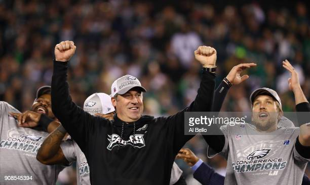 Head coach Doug Pederson of the Philadelphia Eagles celebrates his teams win over the Minnesota Vikings in the NFC Championship game at Lincoln...