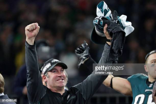 Head coach Doug Pederson of the Philadelphia Eagles celebrates his teams 4133 win over the New England Patriots in Super Bowl LII at US Bank Stadium...