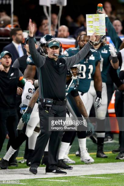 Head coach Doug Pederson of the Philadelphia Eagles celebrates defeating the New England Patriots 4133 in Super Bowl LII at US Bank Stadium on...