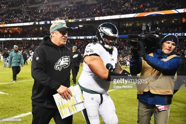 Head coach Doug Pederson of the Philadelphia Eagles celebrates their 16 to 15 win over the Chicago Bears in the NFC Wild Card Playoff game at Soldier...
