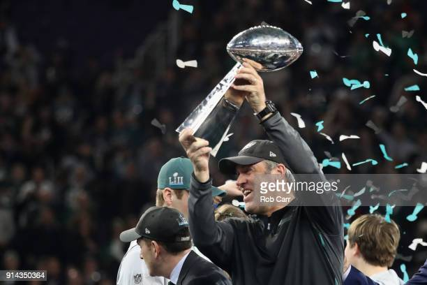 Head coach Doug Pederson of the Philadelphia Eagles celebrates with the Vince Lombardi Trophy after his teams 4133 win over the New England Patriots...