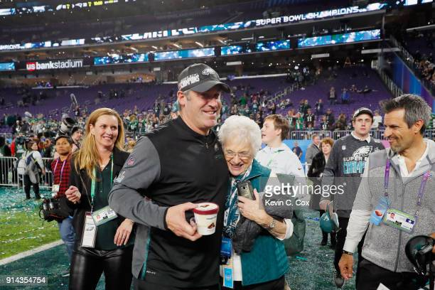 Head coach Doug Pederson of the Philadelphia Eagles celebrates with his mother Teri Boykin after his teams 4133 win over the New England Patriots in...