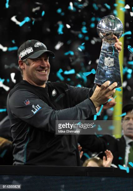 Head coach Doug Pederson of the Philadelphia Eagles celebrates with the Vince Lombardi Trophy after defeating the New England Patriots 4133 in Super...