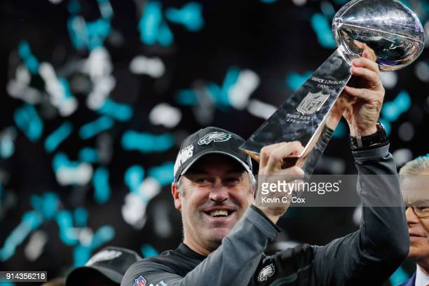 Head coach Doug Pederson of the Philadelphia Eagles celebrates with the Vince Lombardi Tropy after his teams 4133 victory over the New England...