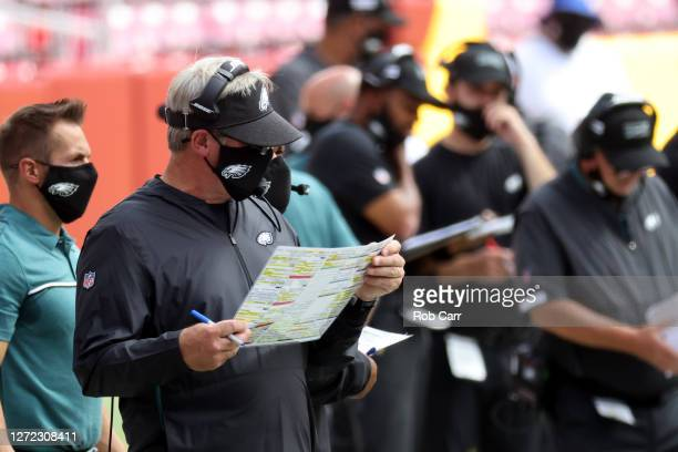 Head coach Doug Pederson of the Philadelphia Eagles looks on a against the Washington Football Club at FedExField on September 13, 2020 in Landover,...