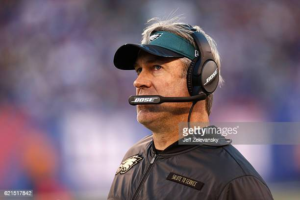 Head coach Doug Pederson of the Philadelphia Eagles looks on against the New York Giants during the fourth quarter of the game at MetLife Stadium on...