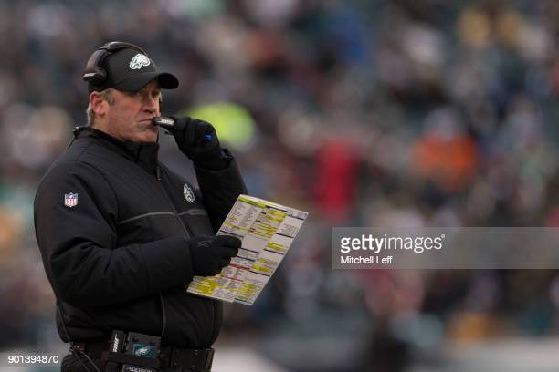 Head coach Doug Pederson of the Philadelphia Eagles looks on against the Dallas Cowboys at Lincoln Financial Field on December 31 2017 in...
