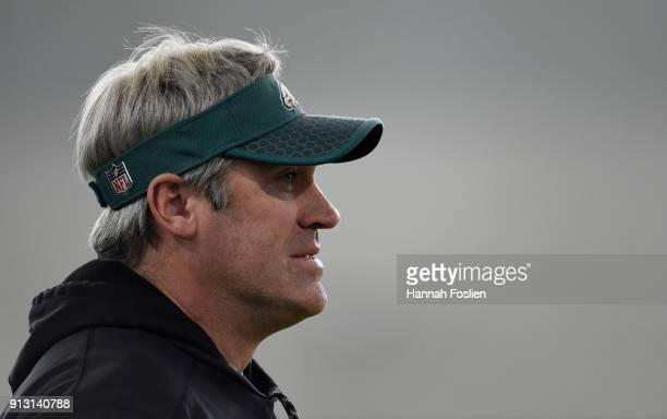 Head coach Doug Pederson of the Philadelphia Eagles looks on during Super Bowl LII practice on February 1 2018 at the University of Minnesota in...
