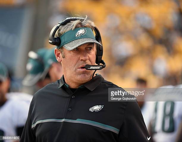 Head coach Doug Pederson of the Philadelphia Eagles looks on from the sideline during a National Football League preseason game against the...