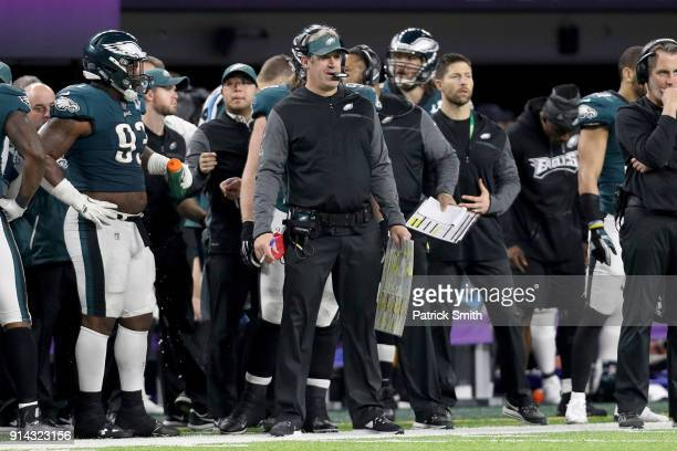 Head coach Doug Pederson of the Philadelphia Eagles looks on from the sideline against the New England Patriots during the third quarter in Super...