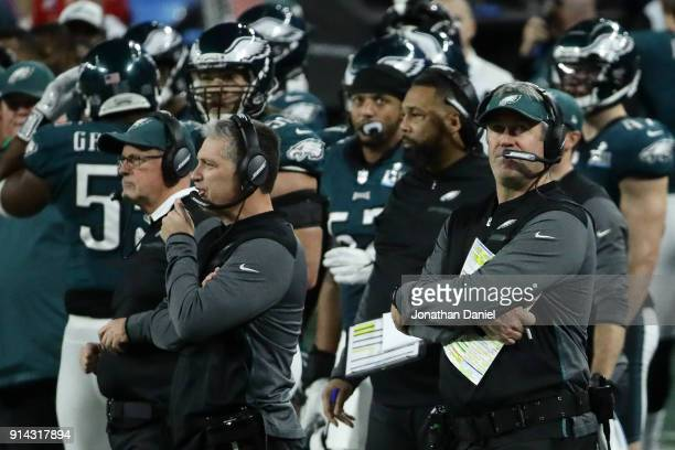 Head coach Doug Pederson of the Philadelphia Eagles looks on in Super Bowl LII against the New England Patriots at US Bank Stadium on February 4 2018...