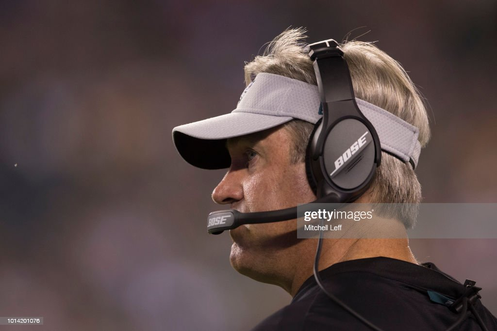 Head coach Doug Pederson of the Philadelphia Eagles looks on in the fourth quarter during the preseason game against the Pittsburgh Steelers at Lincoln Financial Field on August 9, 2018 in Philadelphia, Pennsylvania. The Steelers defeated the Eagles 31-14.