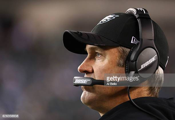 Head coach Doug Pederson of the Philadelphia Eagles looks on in the fourth quarter against the Green Bay Packers at Lincoln Financial Field on...