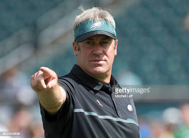 Head coach Doug Pederson of the Philadelphia Eagles points prior to the game against the Cleveland Browns at Lincoln Financial Field on September 11...