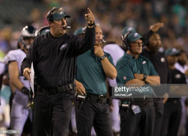 Head coach Doug Pederson of the Philadelphia Eagles points to his team in the fourth quarter of the preseason game against the Buffalo Bills at...