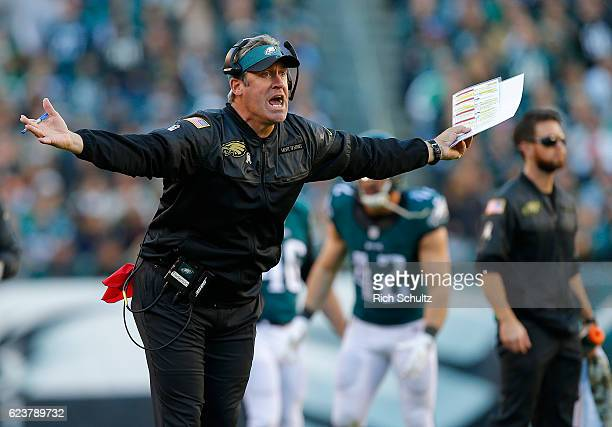 Head coach Doug Pederson of the Philadelphia Eagles questions a call during the fourth quarter against the Atlanta Falcons during a game at Lincoln...