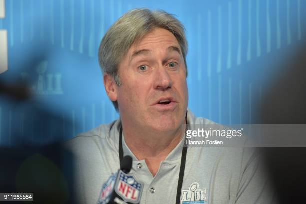 Head coach Doug Pederson of the Philadelphia Eagles speaks to the media during Super Bowl Media Day at Xcel Energy Center on January 29 2018 in St...