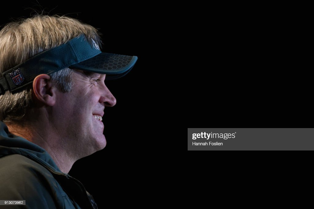 Head coach Doug Pederson of the Philadelphia Eagles speaks to the media during Super Bowl LII media availability on February 1, 2018 at Mall of America in Bloomington, Minnesota. The Philadelphia Eagles will face the New England Patriots in Super Bowl LII on February 4th.