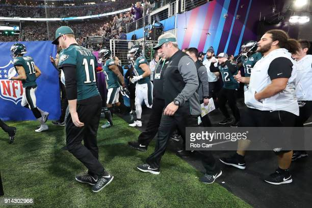 Head coach Doug Pederson of the Philadelphia Eagles takes the field prior to Super Bowl LII against the New England Patriots at US Bank Stadium on...