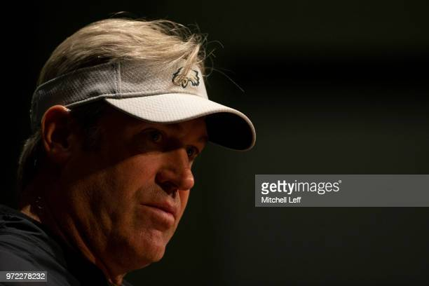 Head coach Doug Pederson of the Philadelphia Eagles talks to the media prior to the start of Eagles OTA's at NovaCare Complex on June 12 2018 in...