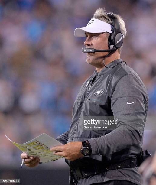Head coach Doug Pederson of the Philadelphia Eagles watches his team during their game against the Carolina Panthers at Bank of America Stadium on...