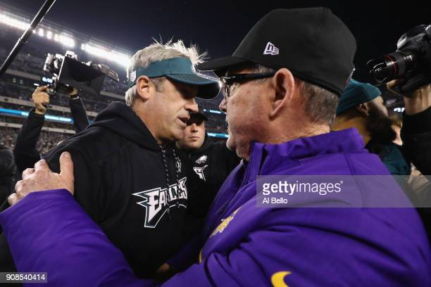 Head coach Doug Pederson of the Philadelphia Eagles with head coach Mike Zimmer of the Minnesota Vikings after defeating him in the NFC Championship...