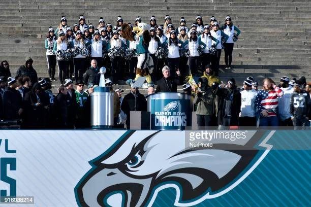 Head coach Doug Peterson speaks as hundreds of thousands fill the Parkway in Philadelphia PA on February 8 to celebrate the Super Bowl champions